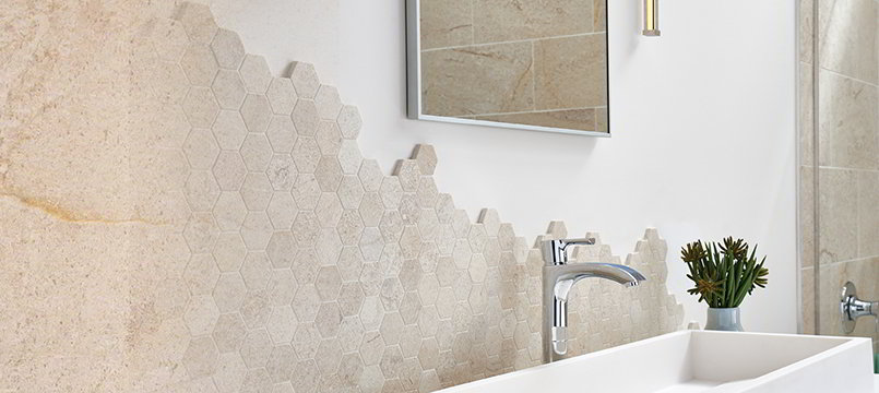 Coastal Sand Mosaic Tile Backsplash