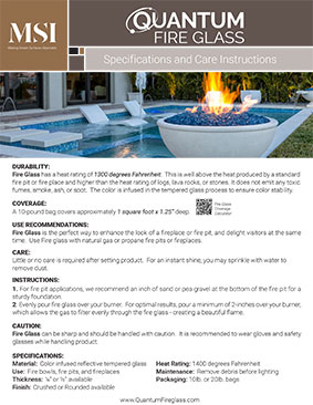 Fire Glass Specifications and Care Instructions
