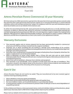 Arterra Porcelain Pavers Commercial 10 year Warranty