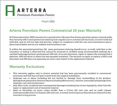 Arterra pavers commercial 10 Year Warranty