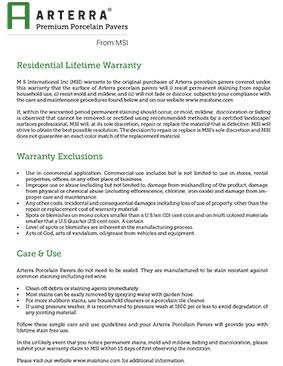 Arterra pavers residential Lifetime Warranty