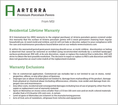 Arterra pavers residential Lifetime Warranty