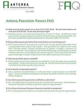 Arterra Porcelain Pavers Faq