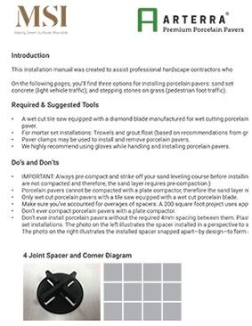 Arterra Porcelain Pavers Installation Guide