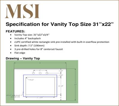 Vanity Top 3122 Specification Download