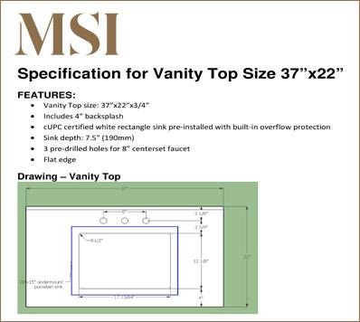 Vanity Top 3722 Specification Download