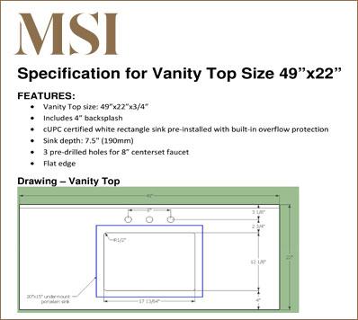 Vanity Top 4922 Specification Download