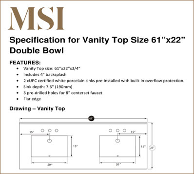 Vanity Top 6122 DB Specification Download