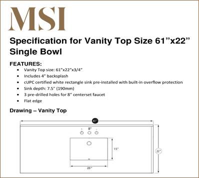 Vanity Top 6122 SB Specification Download
