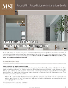 Paper/Film Face Mosaic Installation Guide