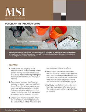 Porcelain Installation Guide