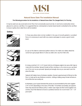 Slate Tile Installation Manual