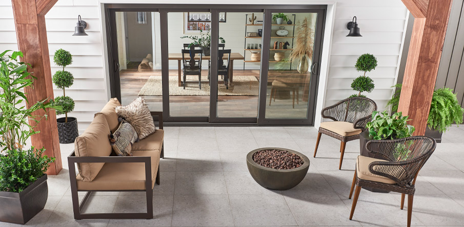 Arterra® Porcelain Pavers outdoor patio with firepit
