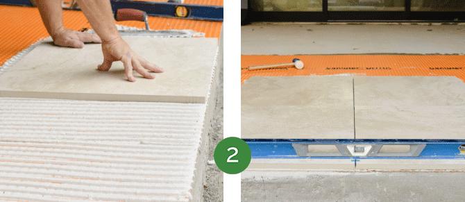 Mortar installation step 2