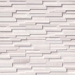 arctic white 3d honed stacked stone panels