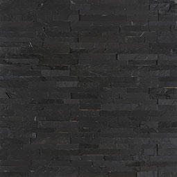 Premium Black Mini Stacked Stone Panels Sealed Enhanced