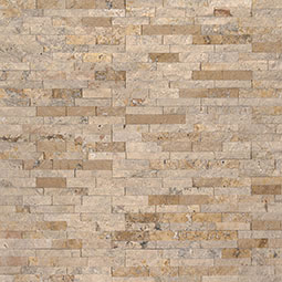 Roman Beige Mini Stacked Stone Panels Sealed Enhanced