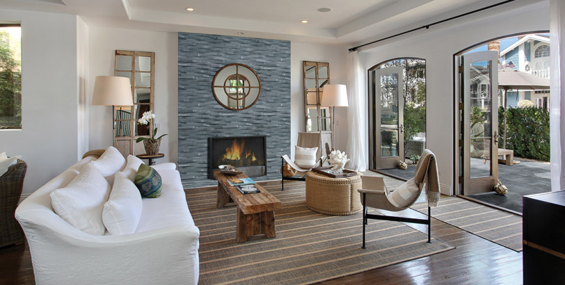Coordinating indoor stacked stone and outdoor pavers