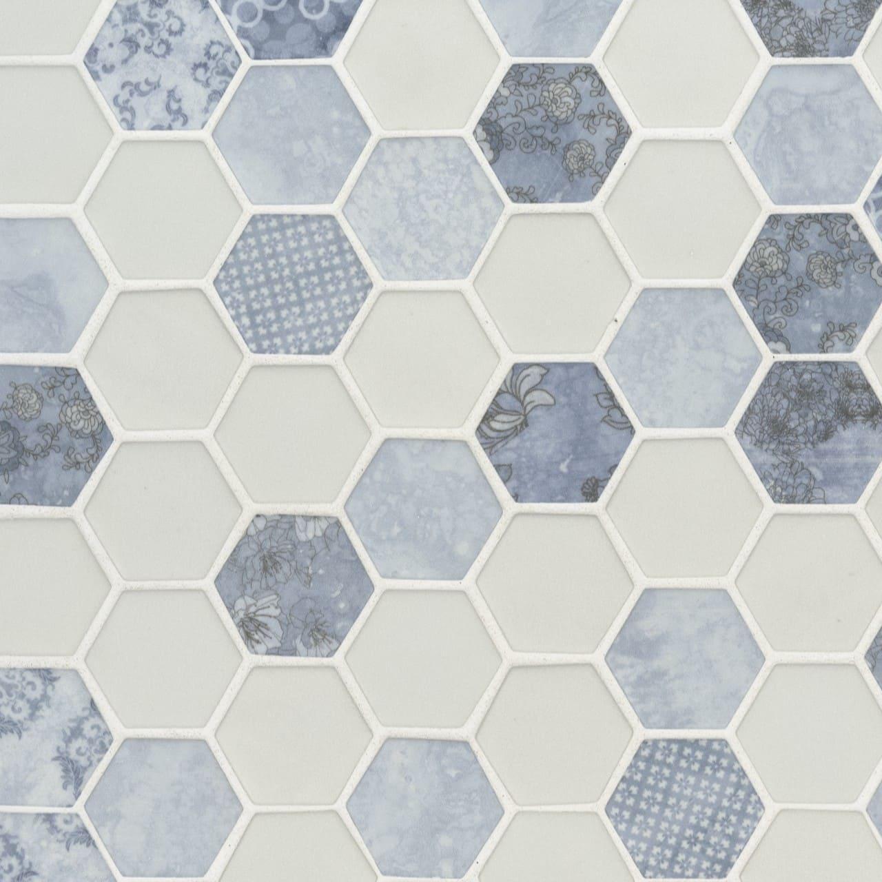 Vista Azul Hexagon Backsplash Wall Tile