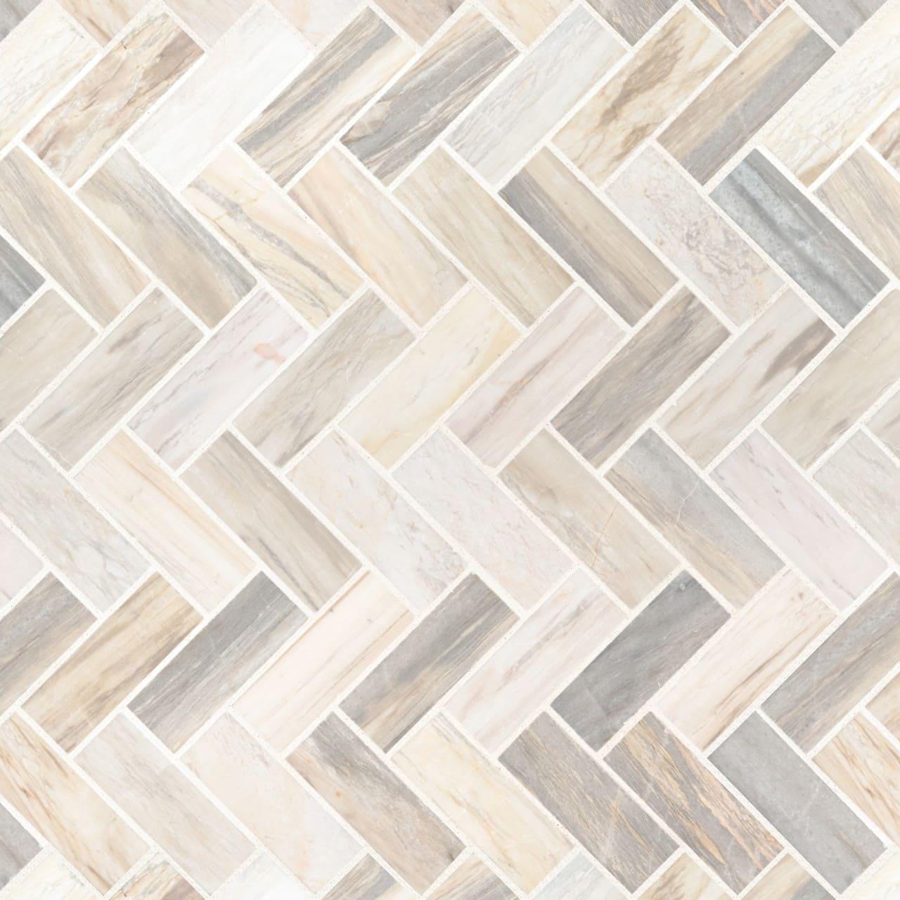 Angora Herringbone Glass Mosaic Tile