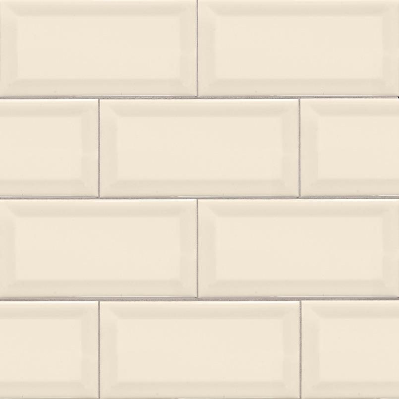 Almond Glossy Subway Tile Beveled 3x6