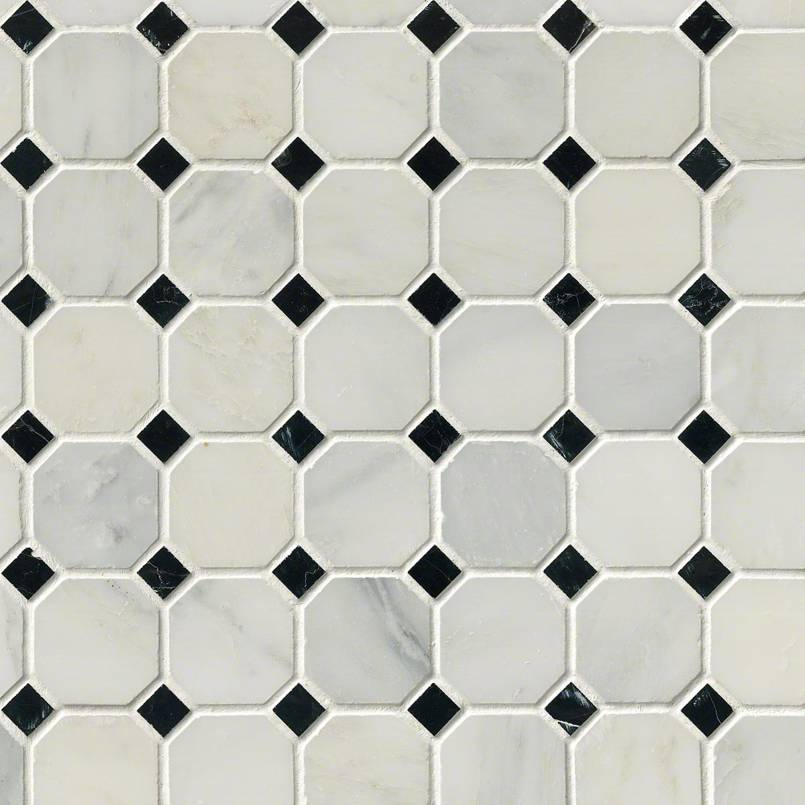 Arabeo Cararra Marble Octagon With Black White Honed Tile