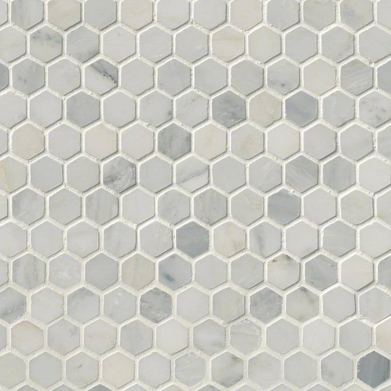"Arabescato Carrara 1"" Hexagon Honed in 12x12 Mesh"