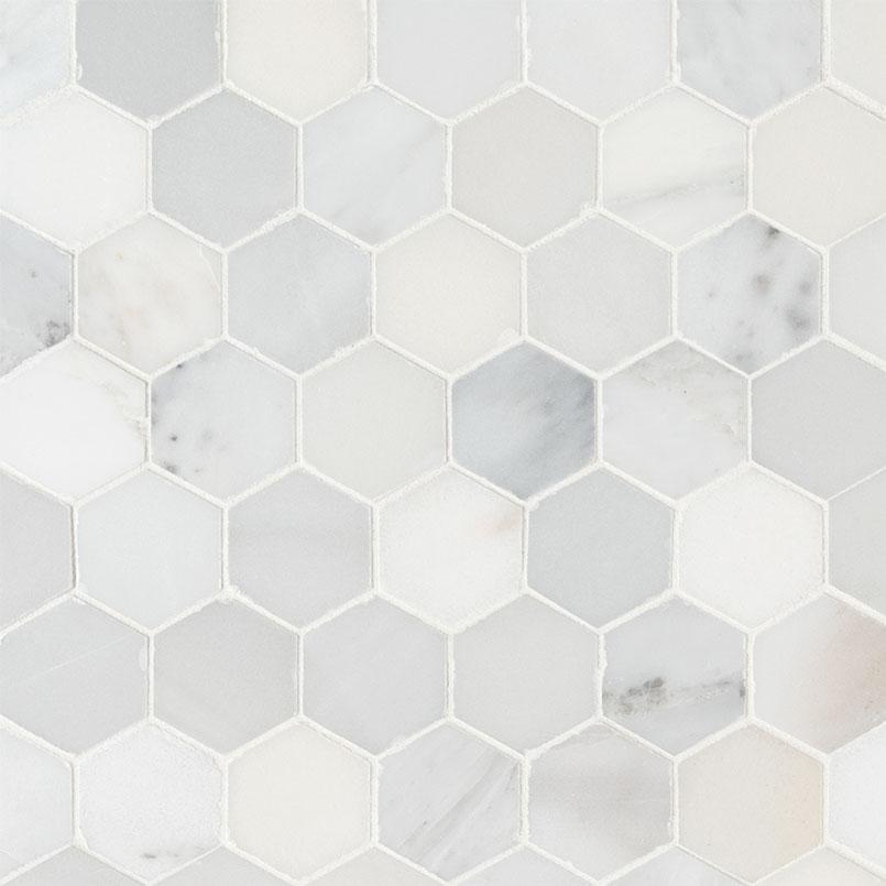 Arabeo Carrara 2 Hexagon Bathroom