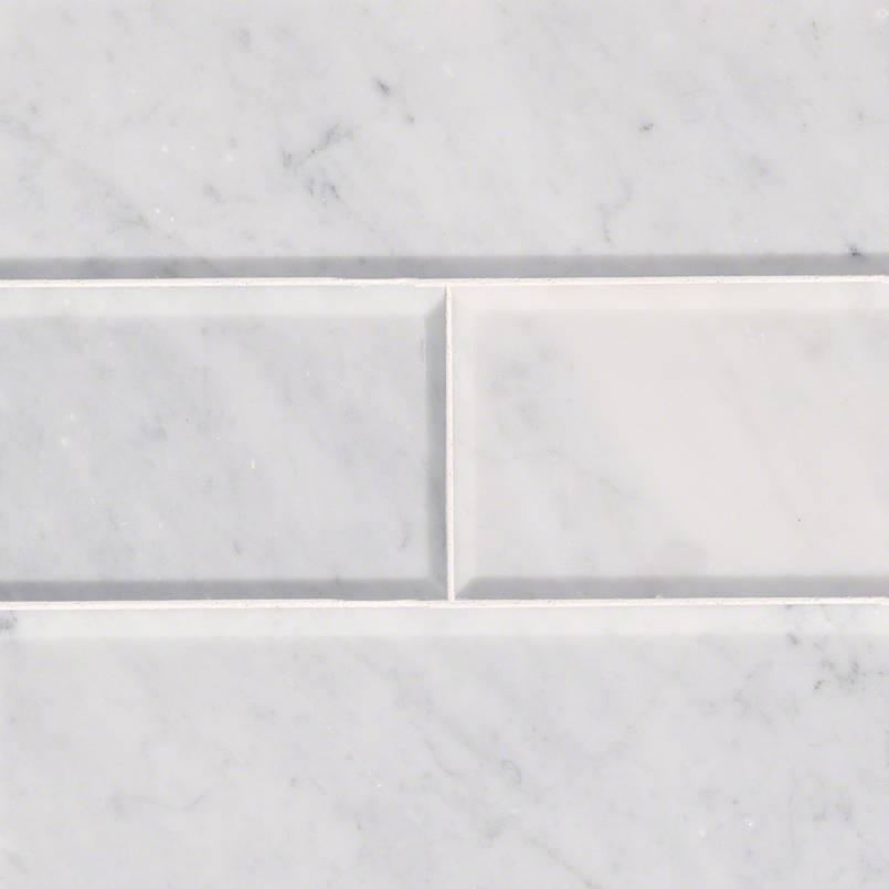 Arabescato Carrara 4x12 Honed and Big Beveled