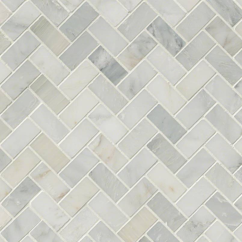 Arabescato Carrara Herringbone Pattern Honed in a Mesh Tile - Herringbone Backsplash