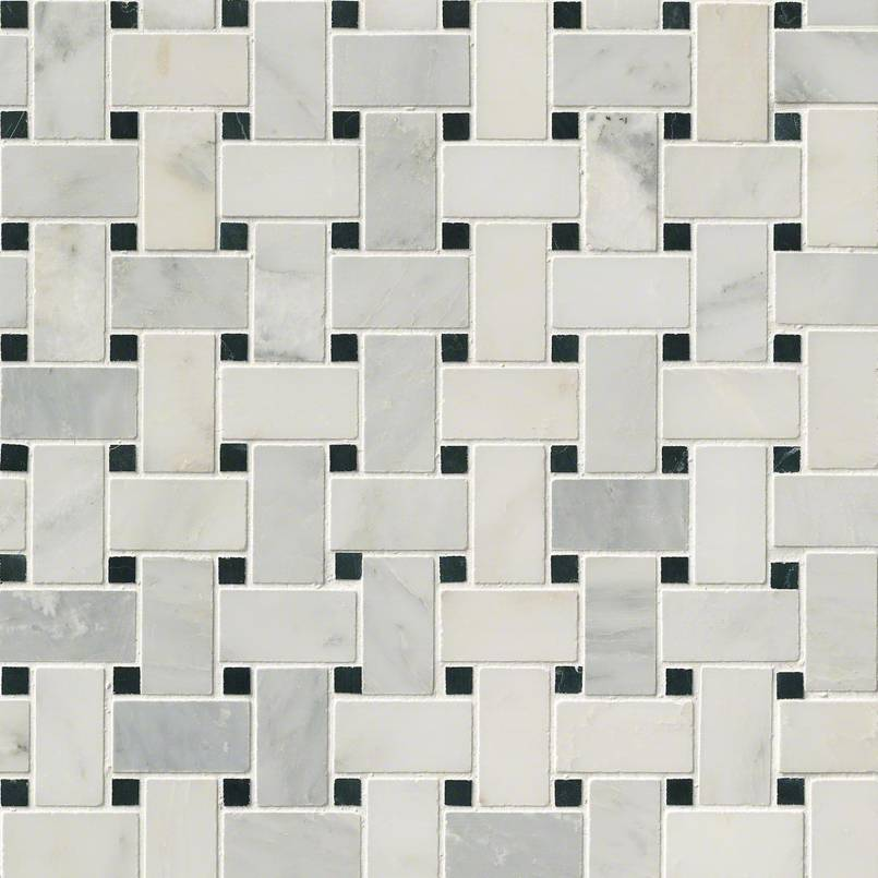 Arabescato Carrara with Black Marble Basket Weave Pattern Honed in a Mesh