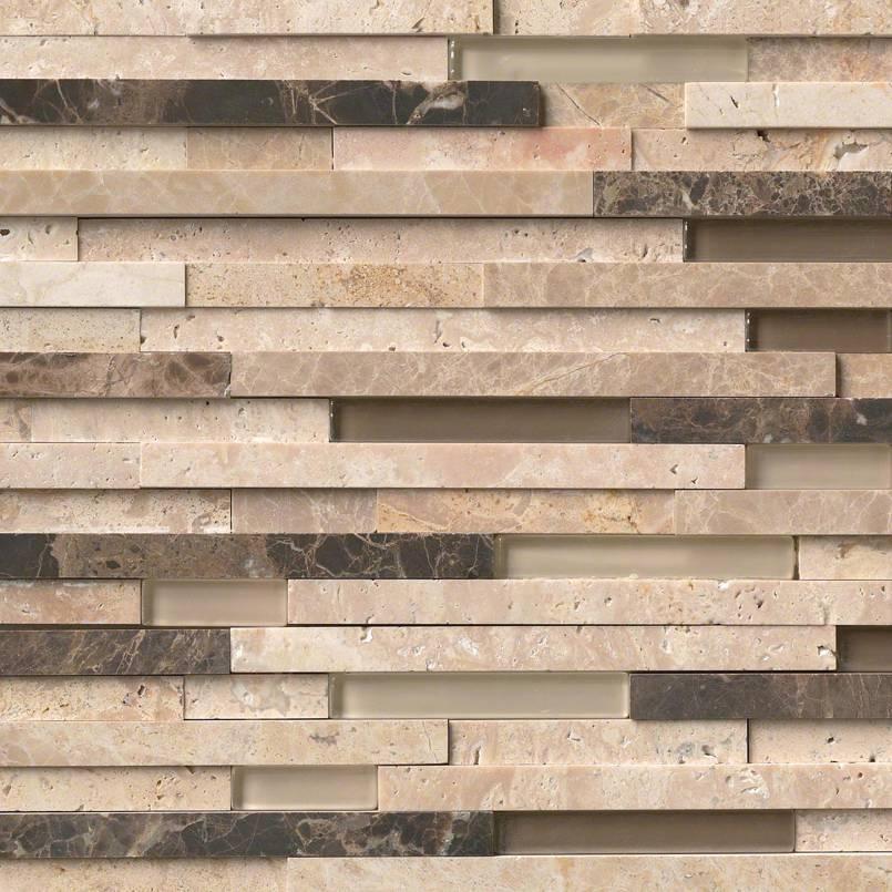 Ashlar Rock Interlocking 3D Pattern in 8x18 Mesh Decorative Mosaic Tile