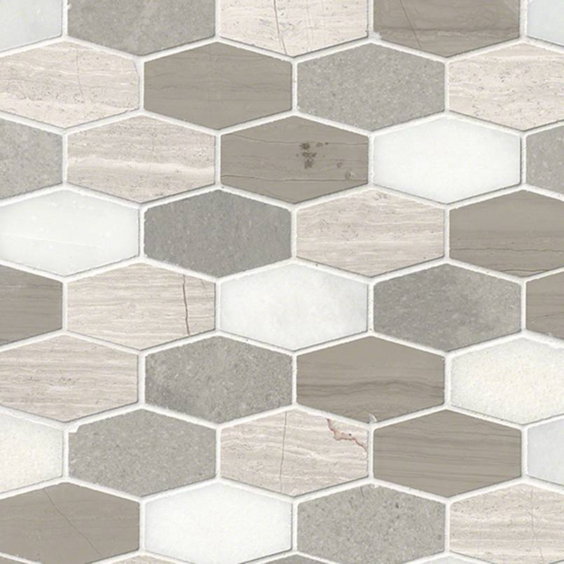 Bellagio Blend Elongated Hexagon Honed Backsplash Tile