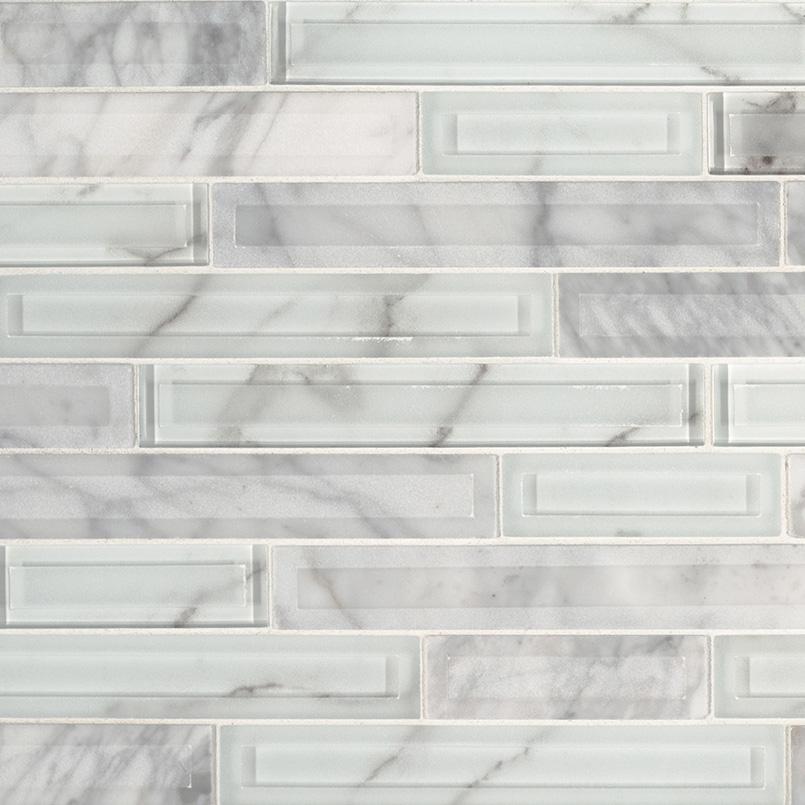 Blocki Blanco Interlocking Pattern 8mm Decorative Mosaic Tile