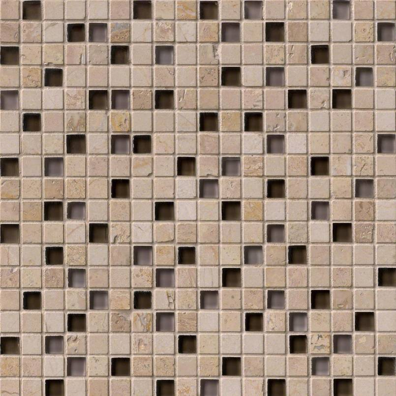 CAFE NOCE GLASS STONE BLEND 5/8X5/8X8MM Decorative Mosaic Tile