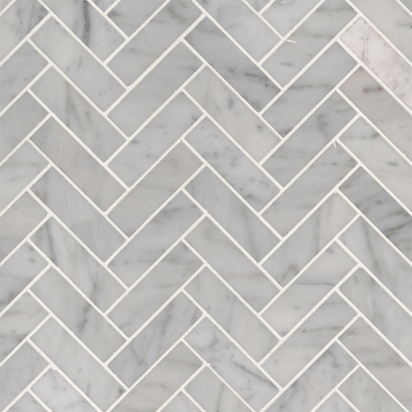 Carrara White 1x3 Herringbone Polished Backsplash Tile