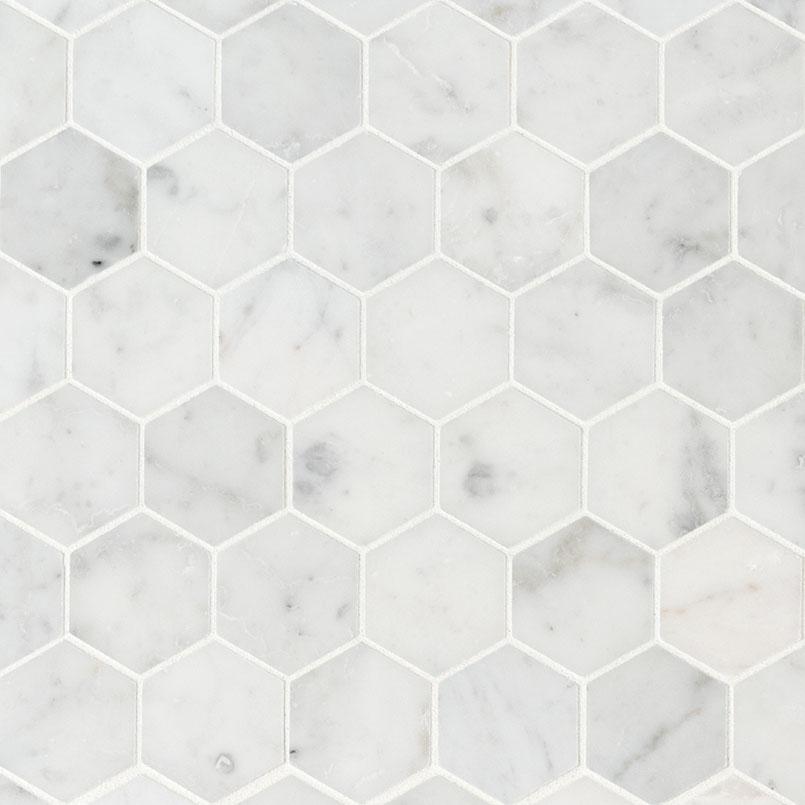 """Carrara White 2"""" Hexagon Honed"""