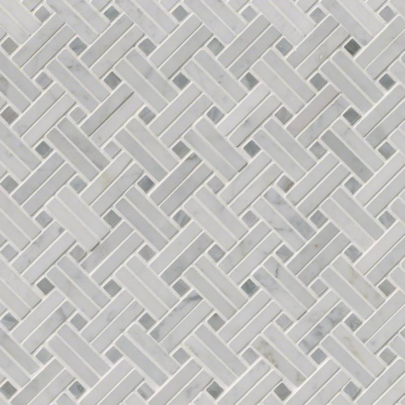 Carrara White Basketweave Pattern Polished Mosaics