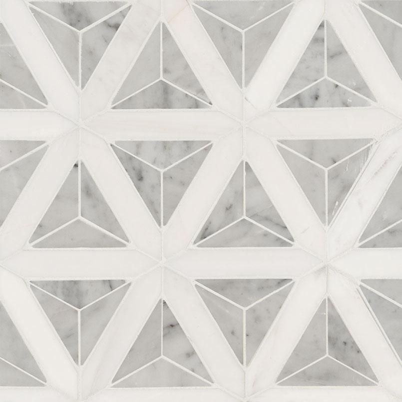 Carrara White Faceted Polished