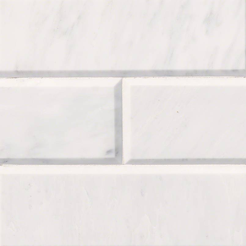 Carrara White Subway Tile Polished Beveled 4x12 Subway Tile