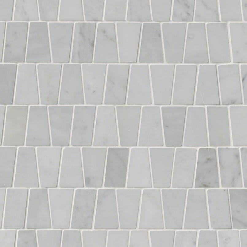 Carrara White Trapezoid Pattern Polished Mosaics