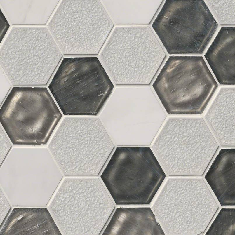 "Circa Zirconia 3"" Hexagon Pattern 8mm Decorative Mosaic Tile"