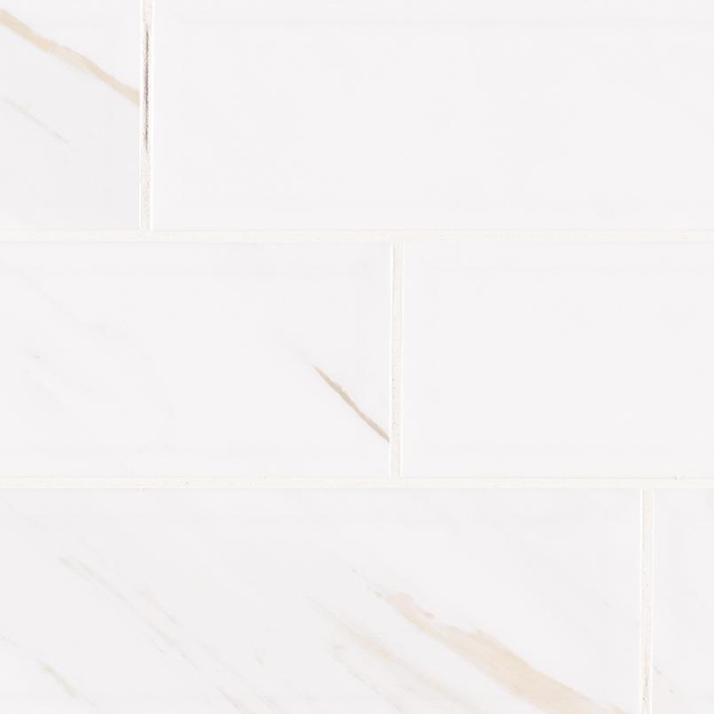 Classique White calacatta Glossy 4X16 Bev