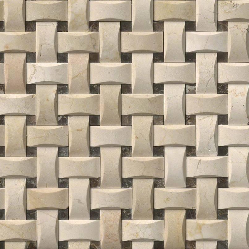 Crema Basketweave Arched Pattern Polished