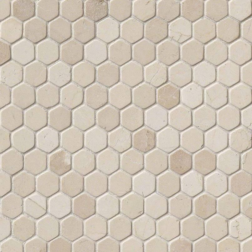 "Crema Marfil 1"" Hexagon Tumbled in 12x12 Mesh"