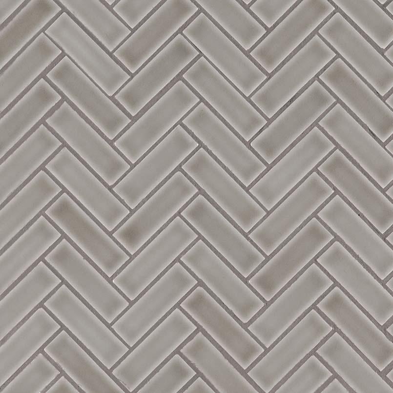 Dove Gray Herringbone Pattern 8mm Backsplash Tile