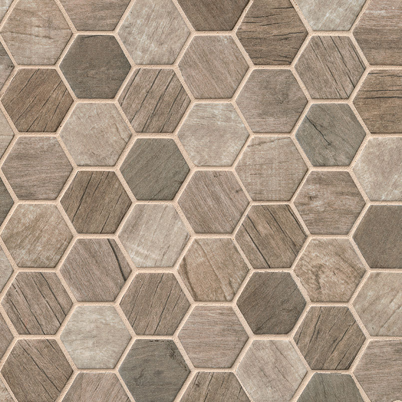Driftwood Hexagon Glass Tile Backsplash Glass Mosaic Tiles