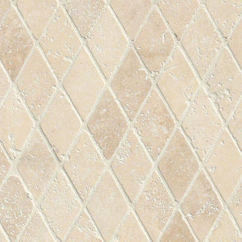 "Durango Cream 2"" Rhomboids Tumbled in 12x12 Mesh"