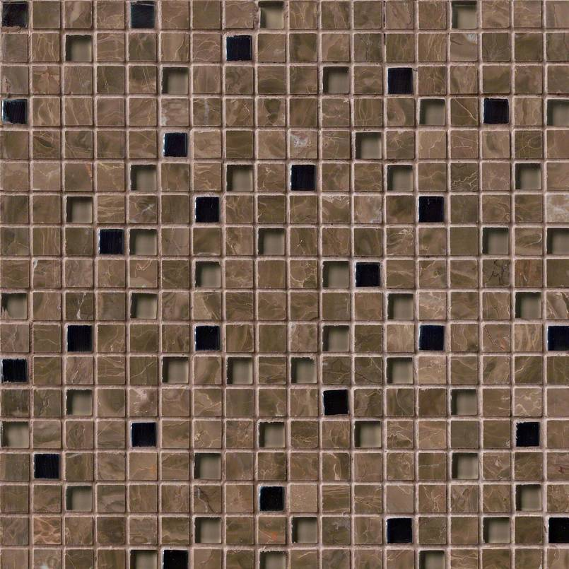EMPERADOR CAFE GLASS STONE BLEND 5/8X5/8X8MM Decorative Mosaic Tile