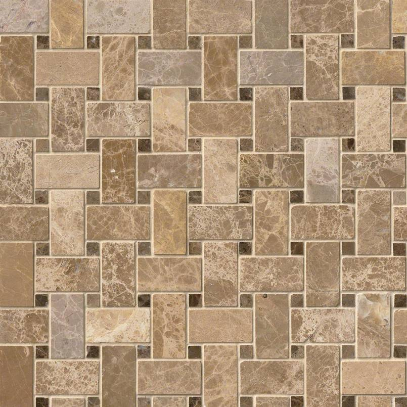 Emperador Light and Emperador Dark Basket Weave Pattern